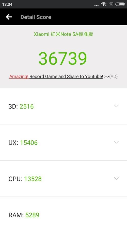 Antutu benchmark Xiaomi Redmi Note 5A