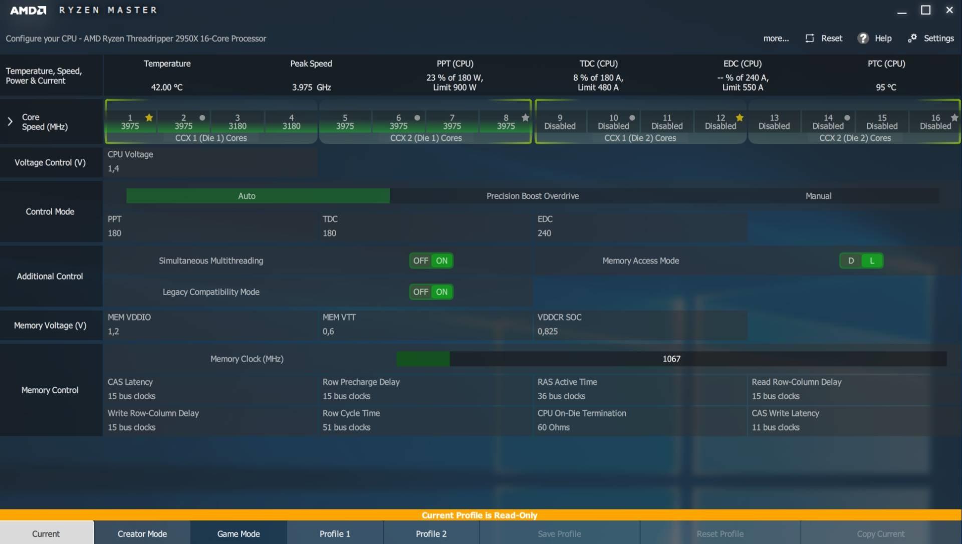 AMD Ryzen Threadripper 2950X, recenze, Precision Boost Overdrive