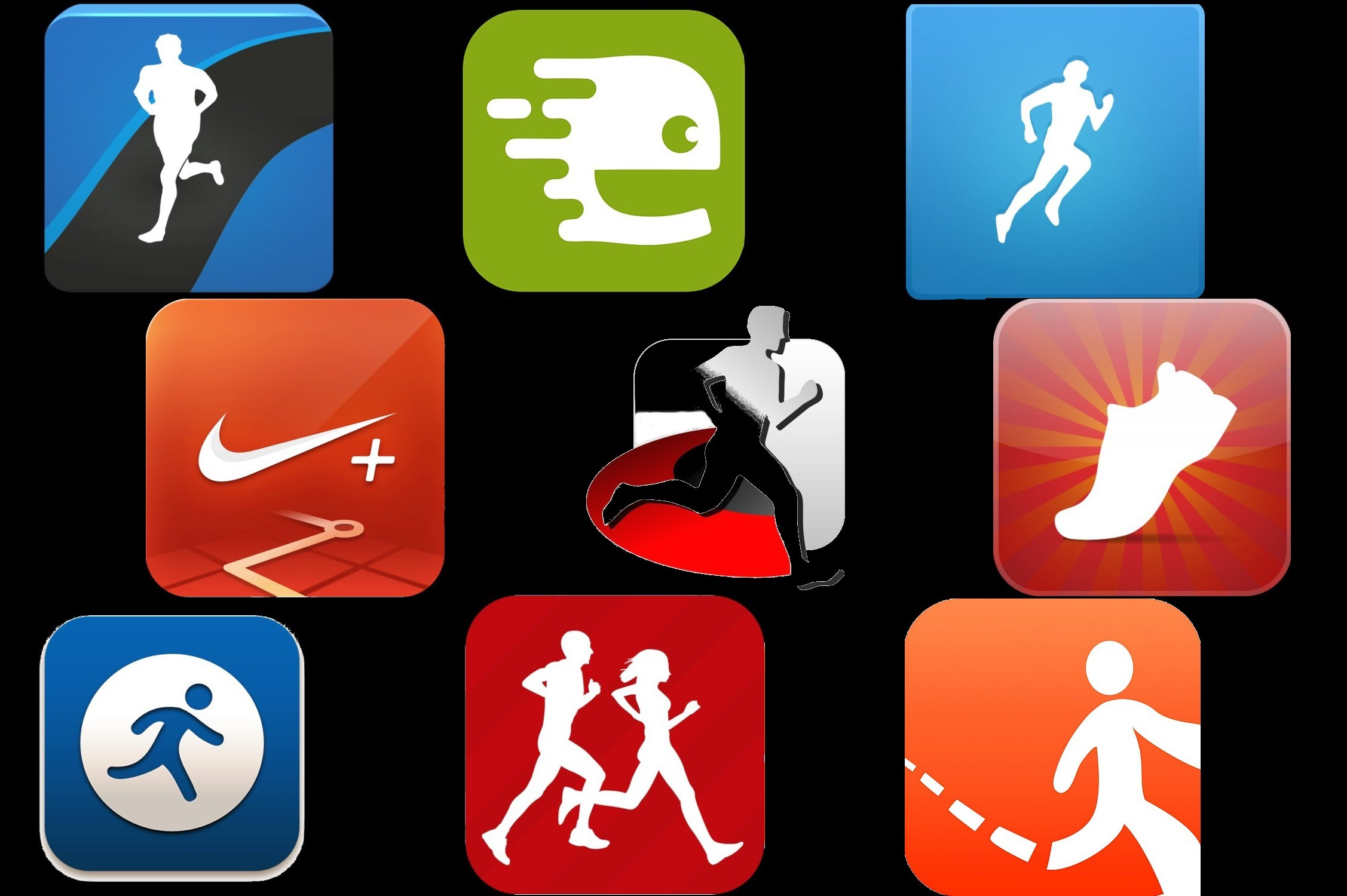 Sporttracker, Runtrainer, Runtastic, Runningroute, Runmeter, Runkeeper, Nike+, Mapmyrun, Endomondo