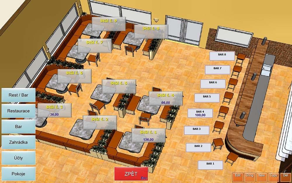Conto pokladní software rozmístění stolů