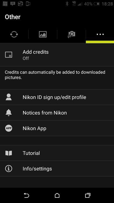 Nikon SnapBridge; Nikon D3400