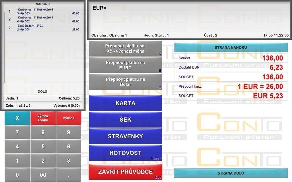 Conto pokladní software LYNX EET