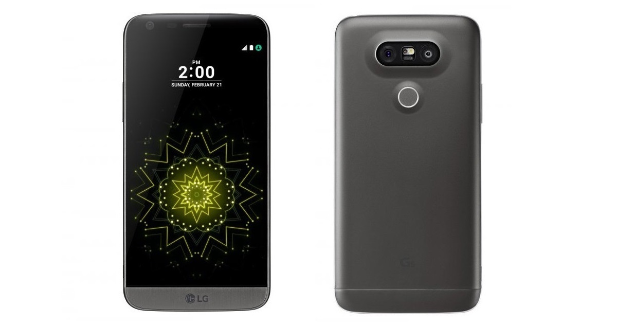 mobilní telefon LG G5 - čelní a zadní pohled
