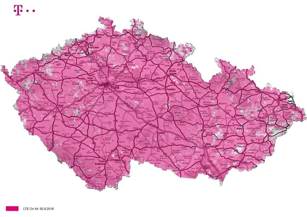 LTE mapa pokryti 2016 T-Mobile