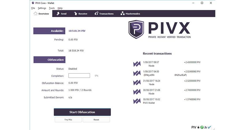 PIVX Wallet, peněženka