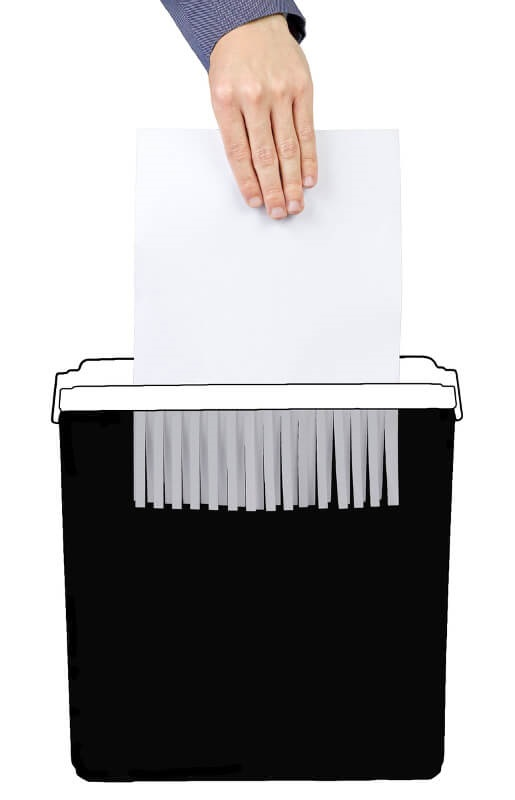 Podélný řez papíru skartovačem