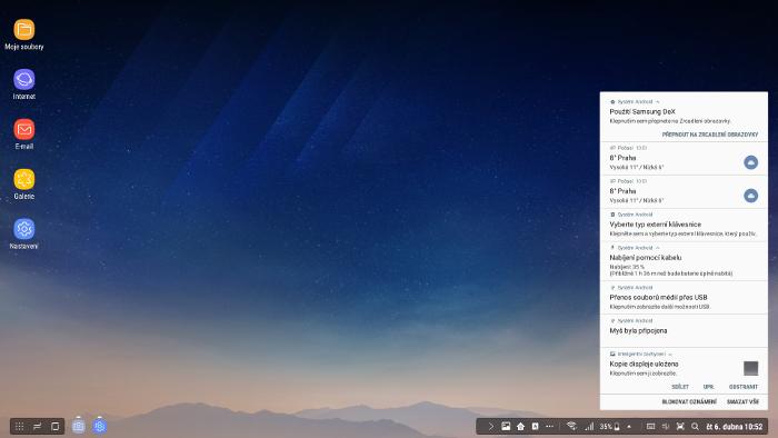 Samsung DeX, notifikační lišta