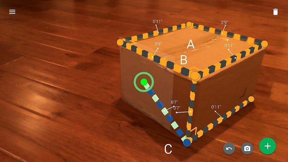 Google tango Measeure měření vzdálenosti rozměrů