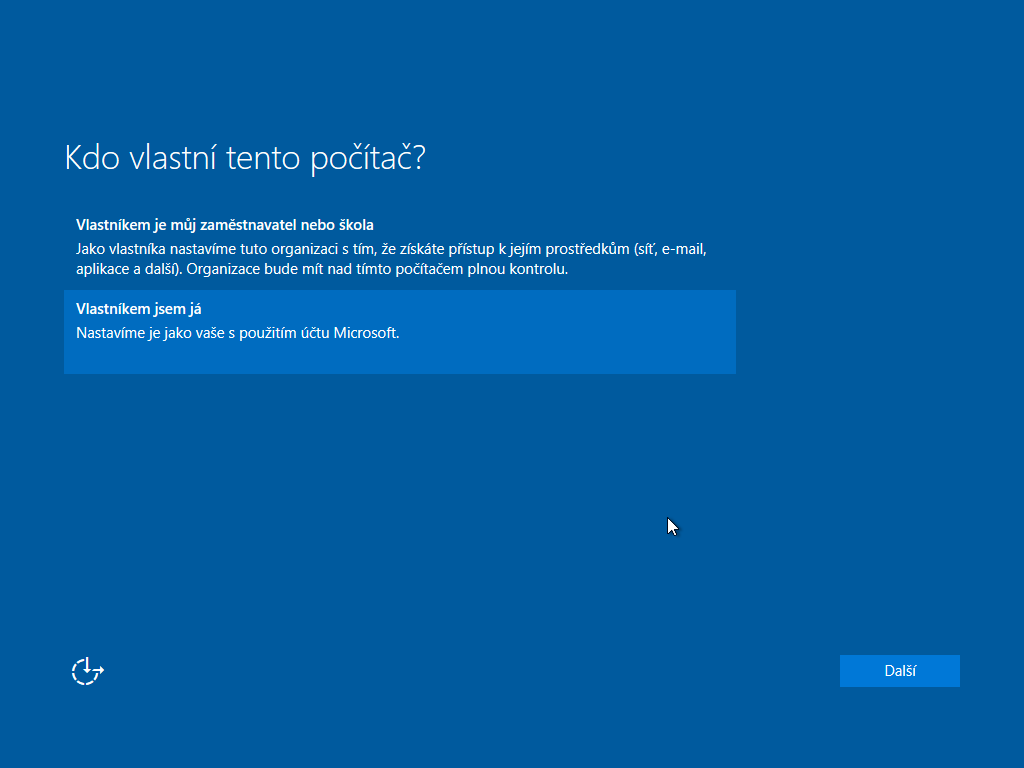 Deváté okno instalace Windows 10