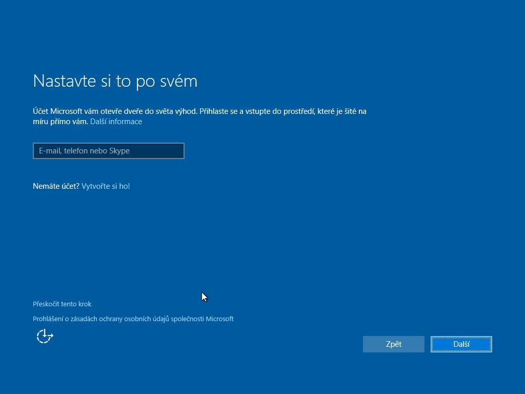 Desáté okno instalace Windows 10