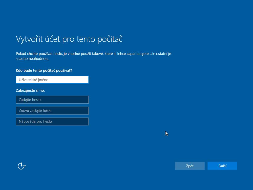 jedenácté okno instalace Windows 10