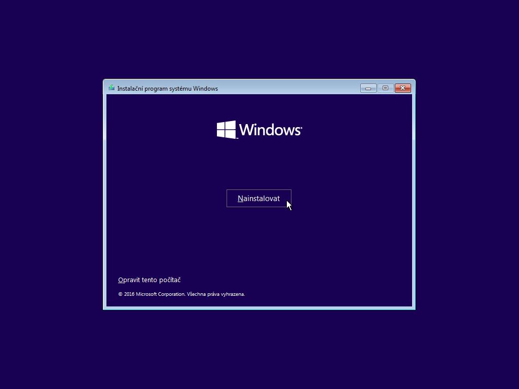 Druhé okno instalace Windows 10