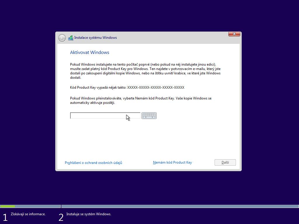 Třetí okno instalace Windows 10