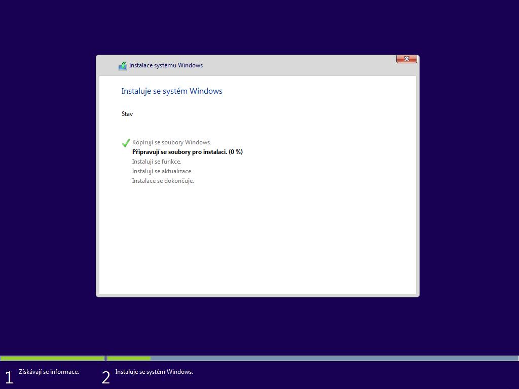 Šesté okno instalace Windows 10