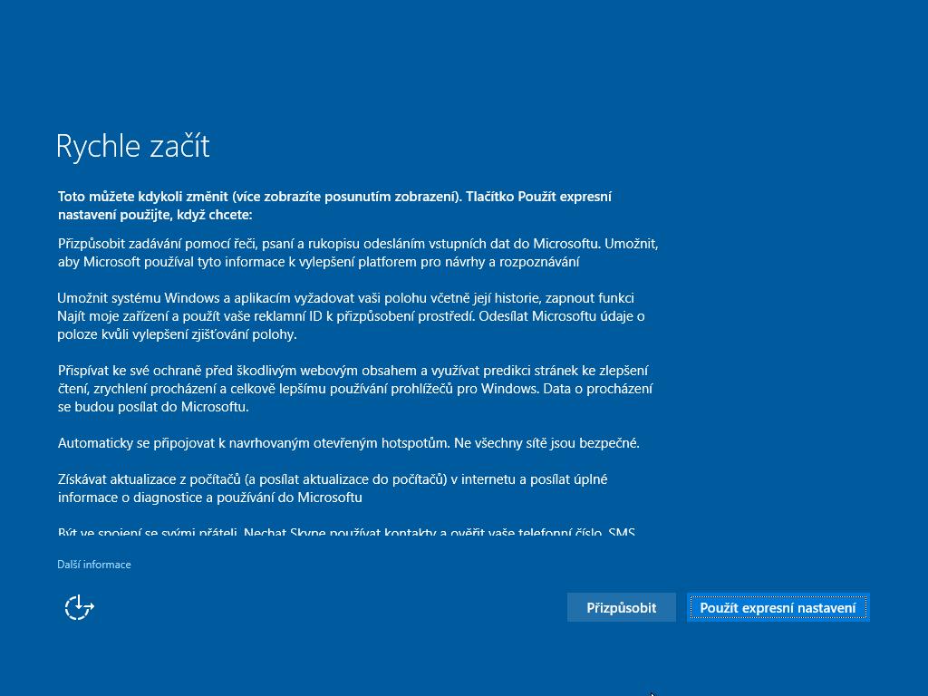 Sedmé okno instalace Windows 10