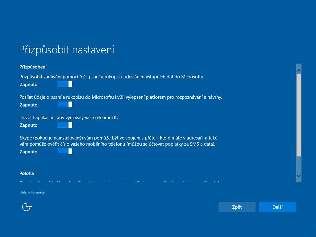 Možnosti nastavení instalace Windows 10