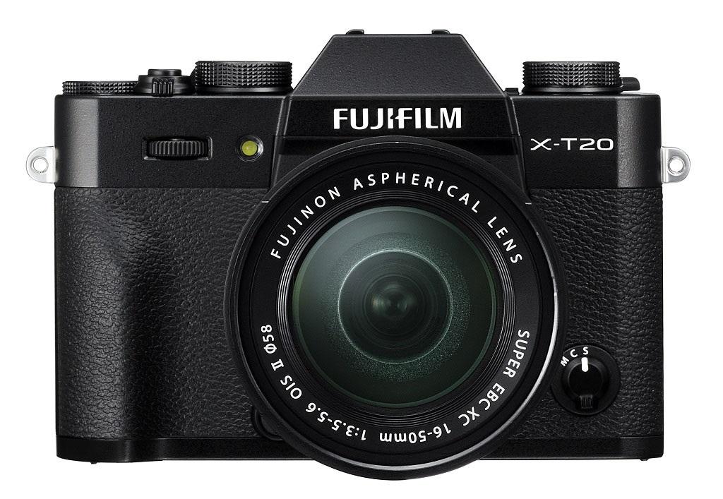 černý foťák Fujifilm X-T20 objektivy