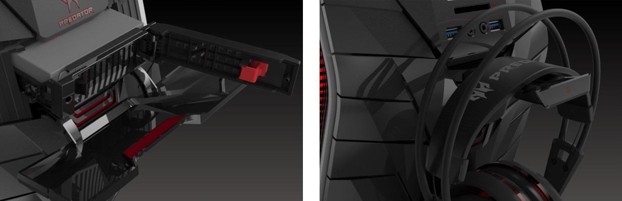 stolní počítače Acer Predator - držák na sluchátka, rozšiřující modul