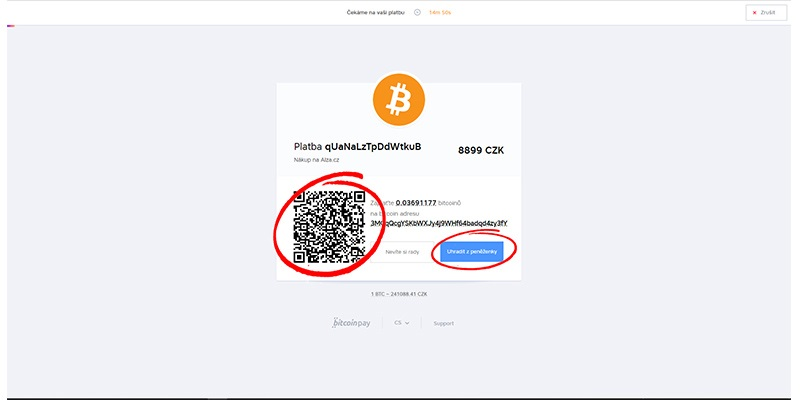 Alza.cz; platba bitcoinem
