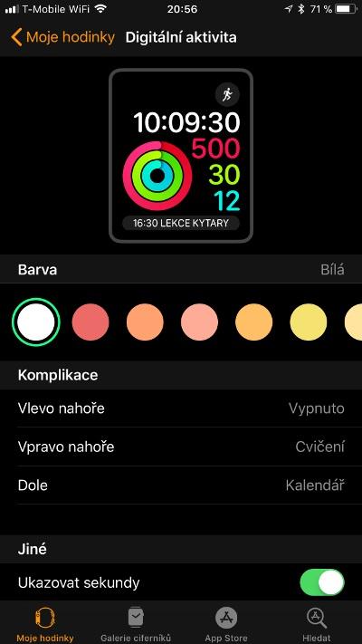Apple Watch 3 GPS, screenshot aplikace, digitální aktivita