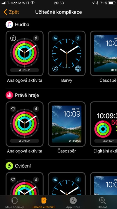 Apple Watch 3 GPS, screenshot aplikace, kompilace