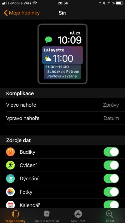 Apple Watch 3 GPS, screenshot aplikace, ciferník Siri