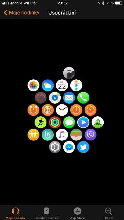 Apple Watch 3 GPS, screenshot aplikace, uspořádání