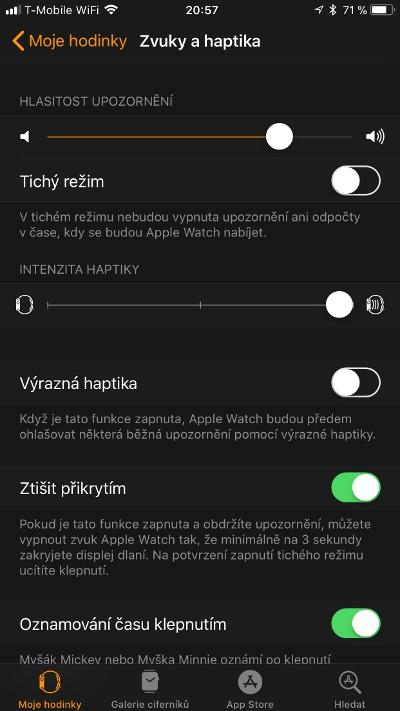 Apple Watch 3 GPS, screenshot aplikace, zvuky a haptika
