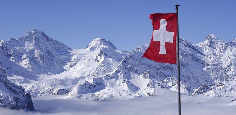 Švýcarská vlajka ve švýcarských horách