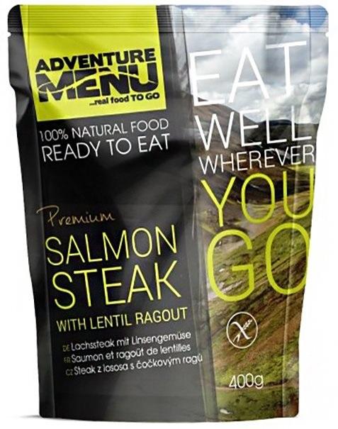 Cestovní jídlo; steak z lososa s čočkovým ragů