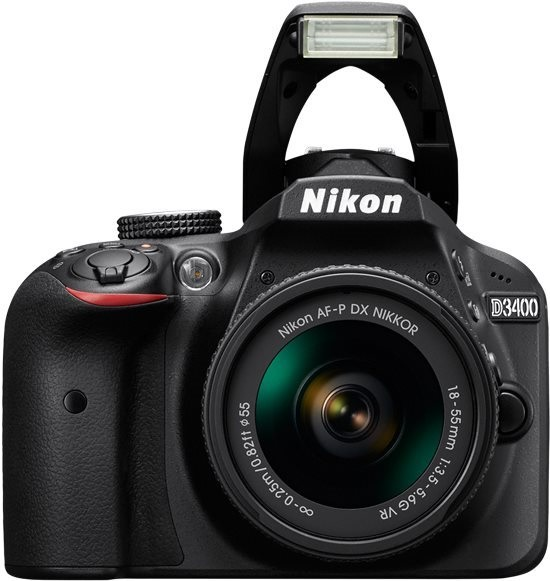 Nikon D3400 černý; interní blesk; AF-P DX Nikkor 18–55mm f/3,5–5,6 G VR