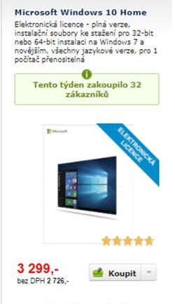 windows 10, elektronická licence