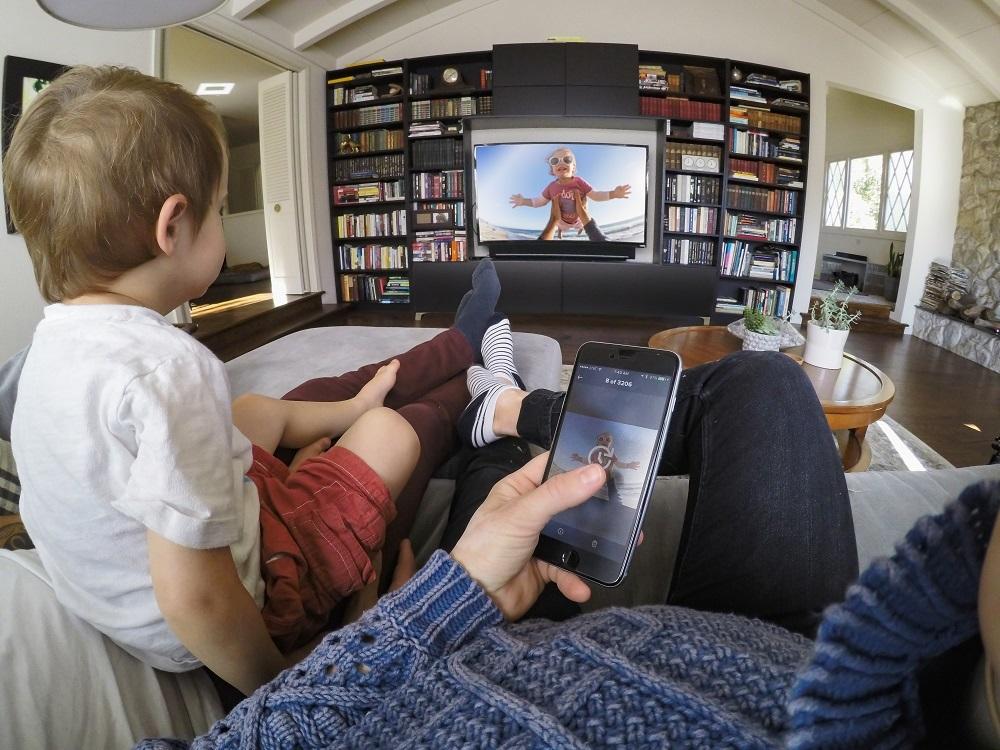 GoPro, smartphone, TV