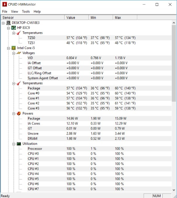 Teploty HP Envy 15 – software HWMonitor