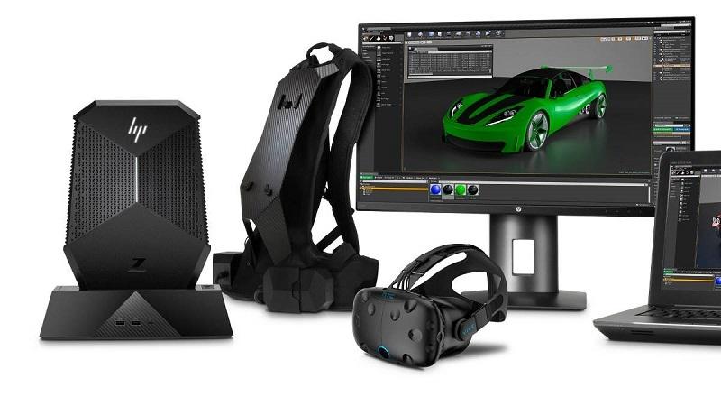 HP Z VR Backpack, monitor, počítač, vr headset, notebook