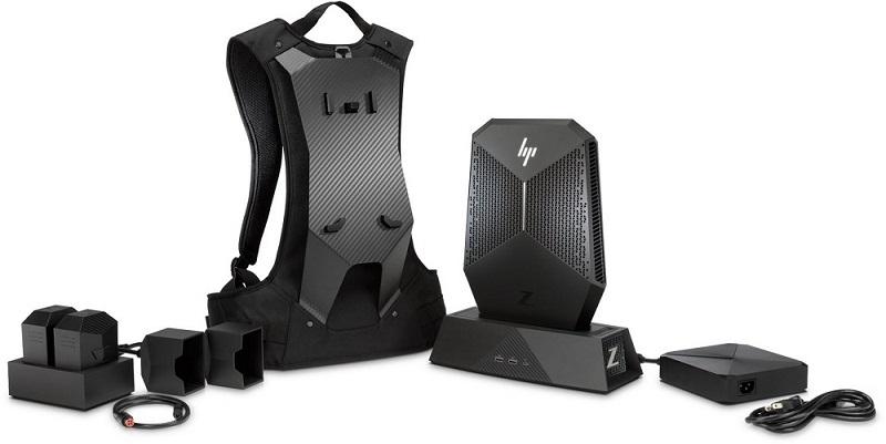 HP Z VR Backpack, počítač, dokovací stanice, baterie