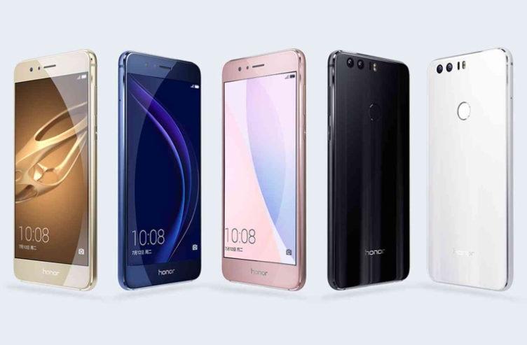 Honor 8 - různé barevné varianty; Honor 8 Blue; Honor 8 Premium Pink; Honor 8 Premium Gold; Honor 8 Black; Honor 8 White