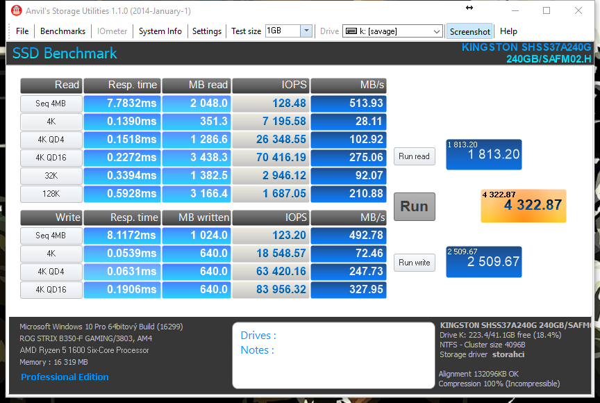 Samsung 850 EVO - Anvil's Intel Storage Utilities
