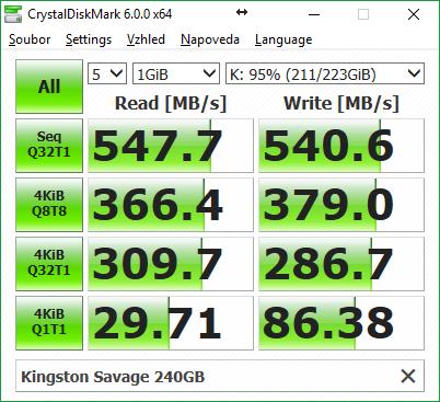 Samsung 850 EVO vs. HyperX Savage, HyperX Savage – CrystalDiskMark