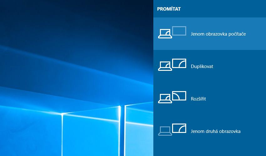 Připojení notebooku k TV ve Windows