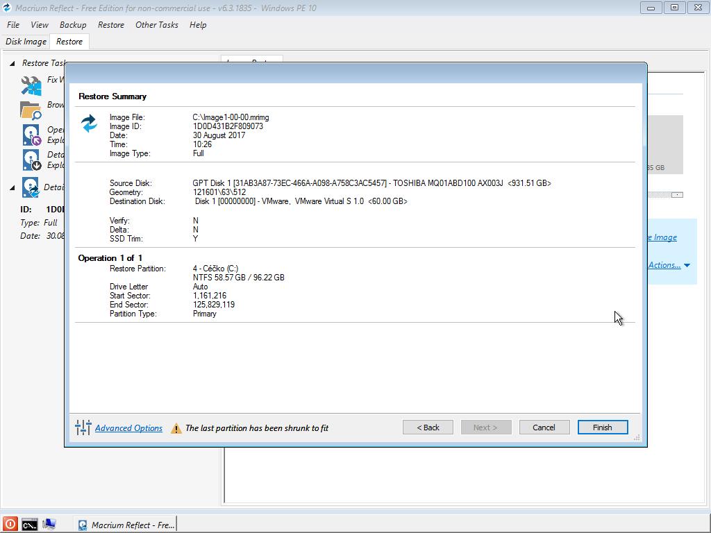 Obnova disku v prostředí Windows PE