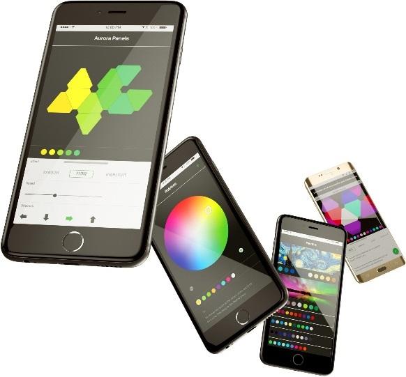 Nanoleaf Aurora; inteligentní osvětlení; světlo ovládané mobilním telefonem