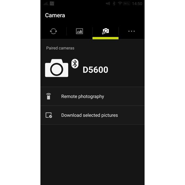 Nikon D5600 - printscreen z aplikace SnapBridge