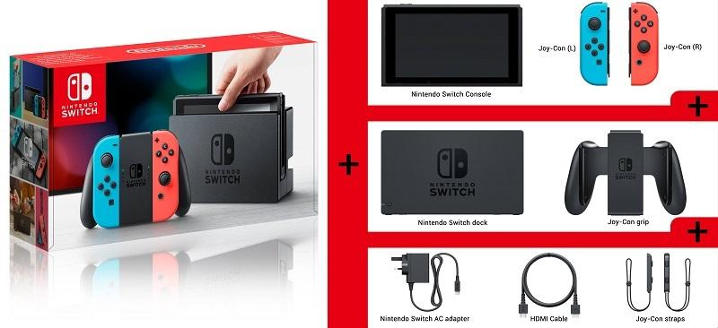 Nintendo Switch; obsah balení