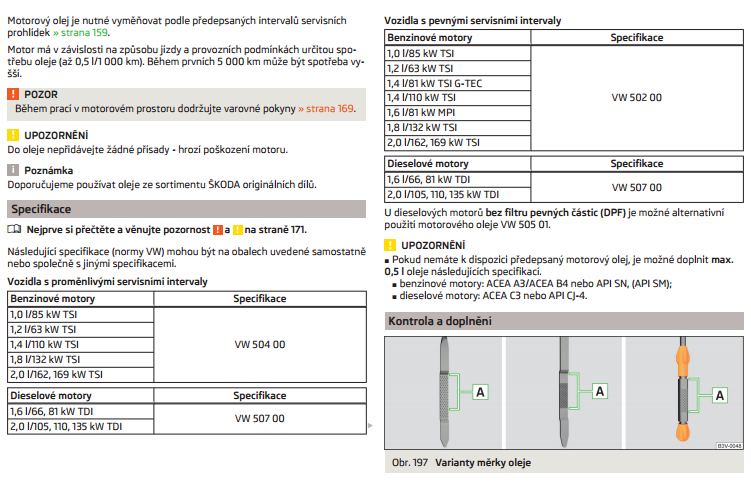 Specifikace motorového oleje v příručce k vozu Škoda Octavia
