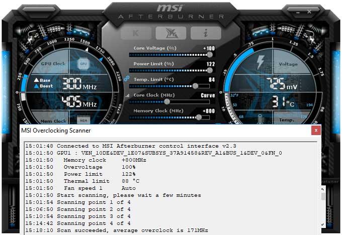 Přetaktování Gigabyte RTX 2080 Ti Gaming OC 11G; Afterburner