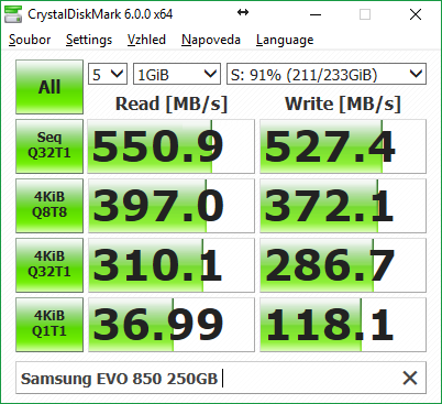 Samsung 850 EVO – CrystalDiskMark