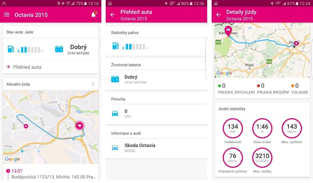 Chytré auto T-Mobile; Mojio; aplikace Motion