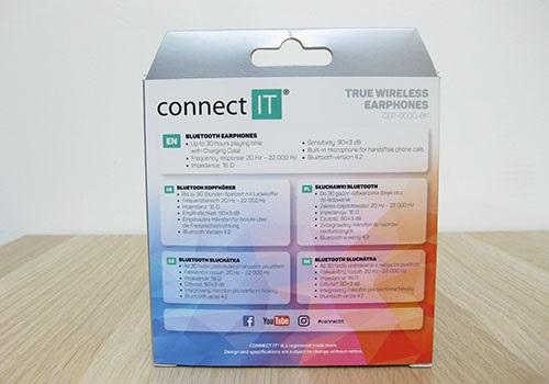 Connect IT True Wireless, zadní strana, balení