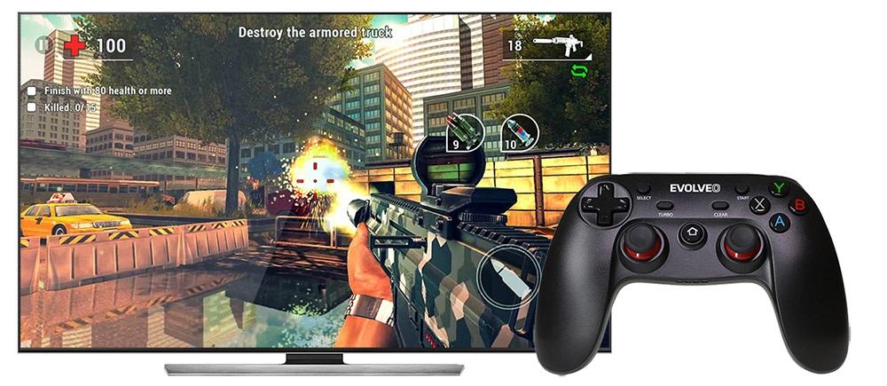 EVOLVEO Android Box H4 Plus, herní ovladač, gamepad